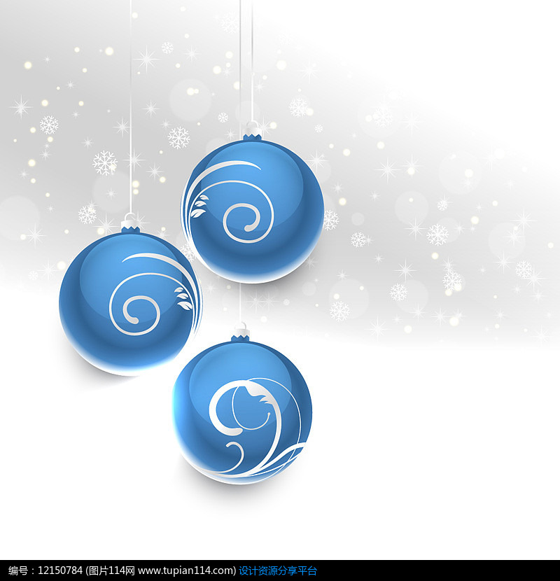蓝色花纹圣诞球AI矢量图平面设计素材