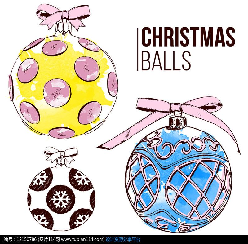3款彩色圣诞球AI矢量图平面设计素材