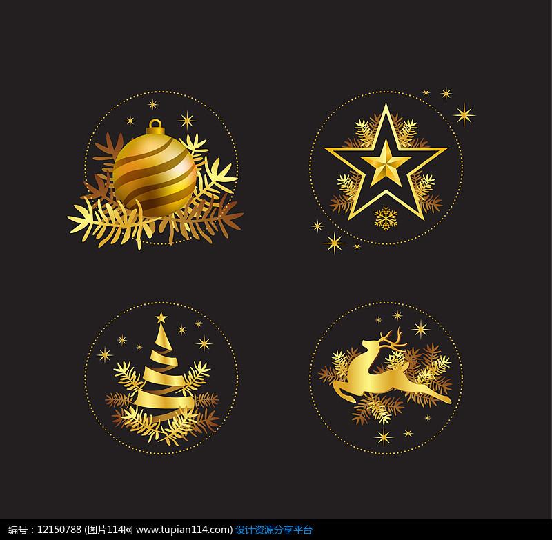 4款金色圣诞元素AI矢量图平面设计素材