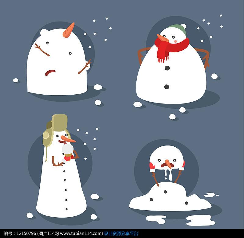 4款可爱雪人设计AI矢量图设计素材