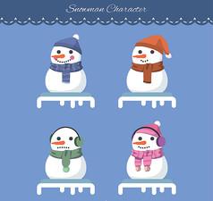 4款笑脸圣诞雪人AI矢量图设计素材