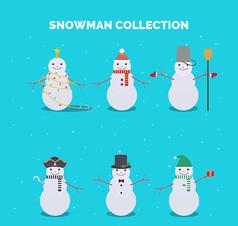 6款可爱冬季雪人AI矢量图设计素材