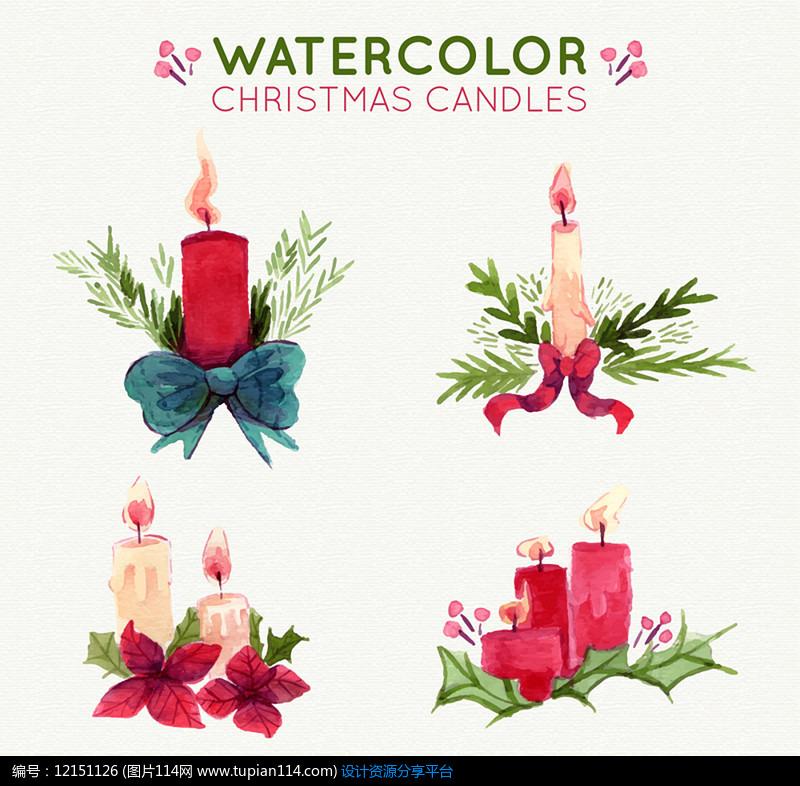 4款水彩绘节日蜡烛AI矢量图设计素材