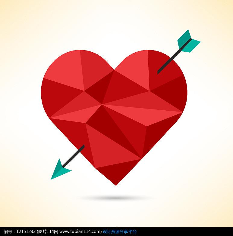 被箭射中的几何形爱心AI矢量图设计素材