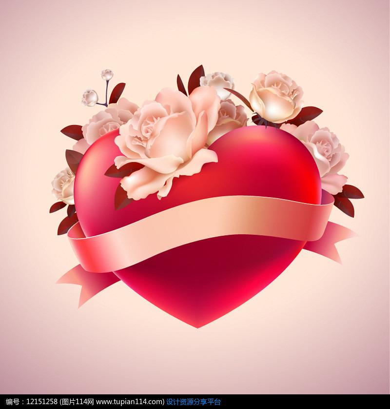 立体玫瑰花与爱心AI矢量图设计素材