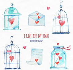 6款创意爱心元素AI矢量图设计素材