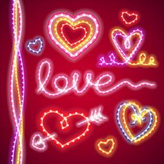 9款创意爱心元素软管灯AI矢量图设计素材