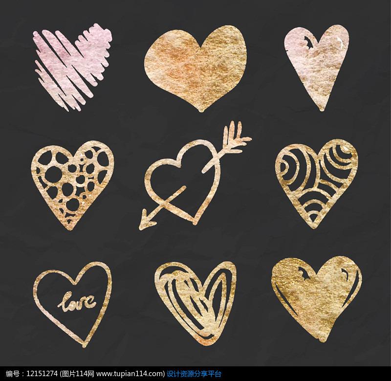 9款创意花纹爱心AI矢量图设计素材
