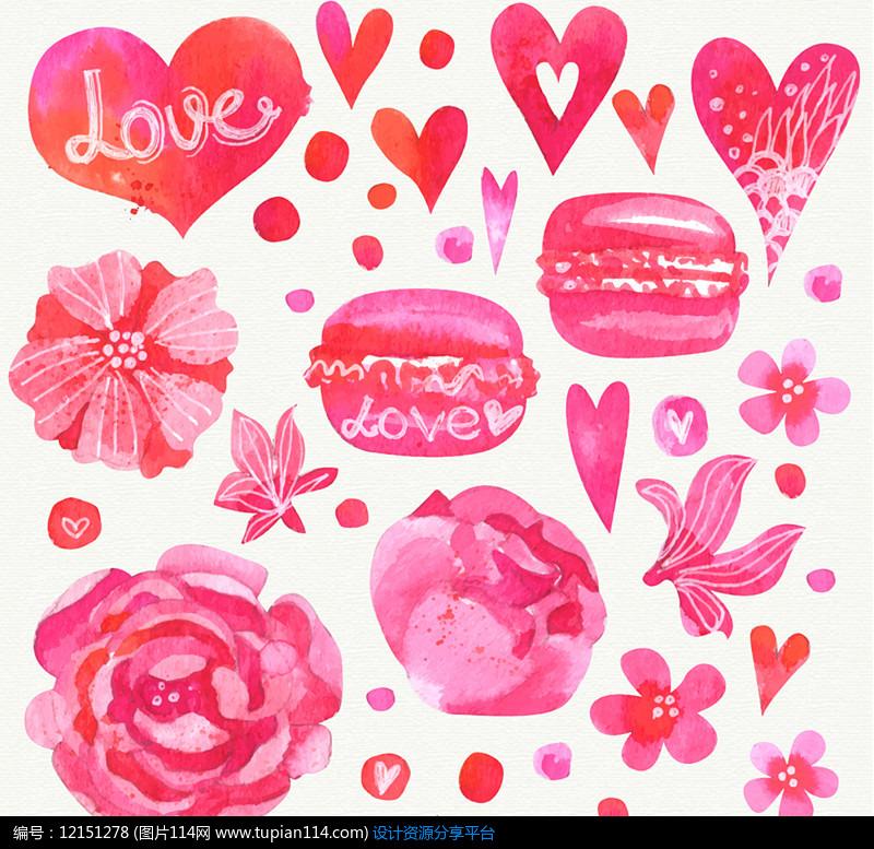 14款水彩绘爱心和花卉AI矢量图设计素材