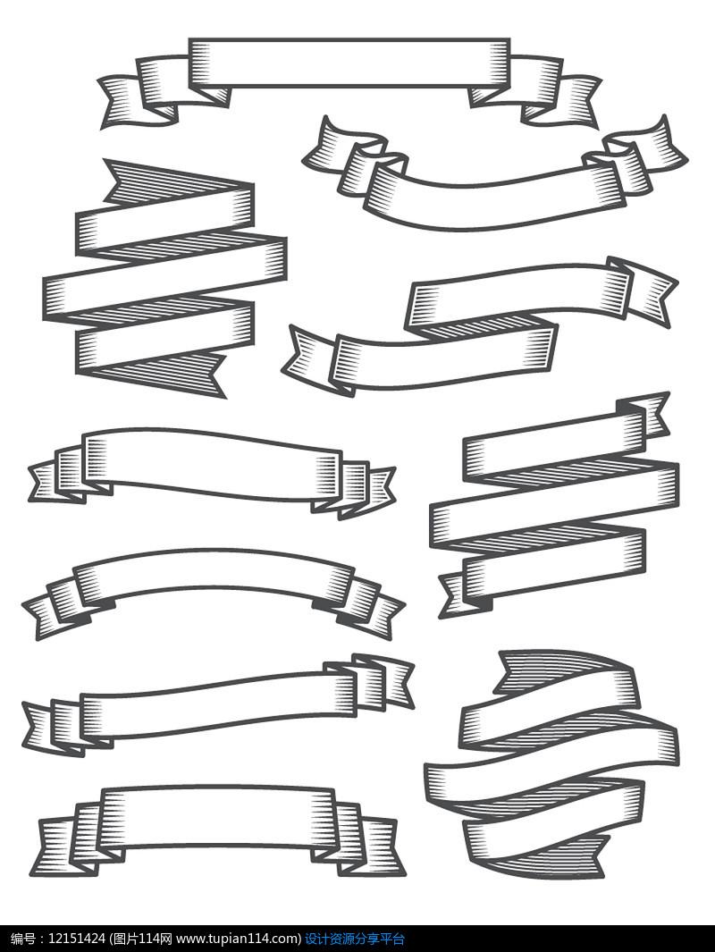 10款黑色丝带banner设计AI矢量图平面设计素材