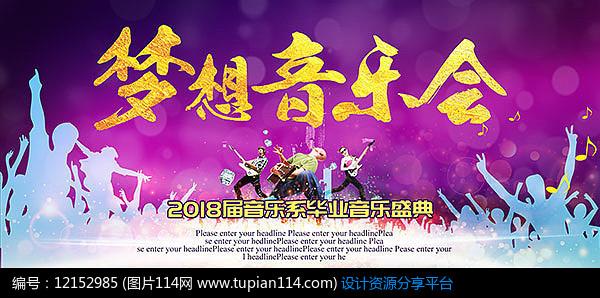 紫色唯美音乐会宣传展板