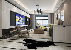 现代时尚客厅模型