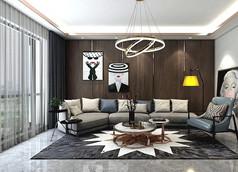 现代中性客厅模型