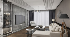 灰色系客厅模型