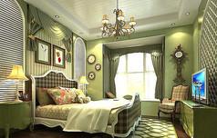 美式田园卧室模型