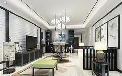 仿古客厅3d模型