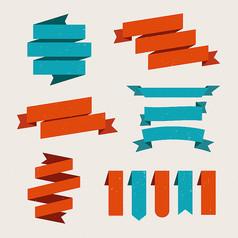 6款彩色纸丝带设计矢量素材
