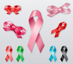 9款彩色丝带与丝带花矢量素材