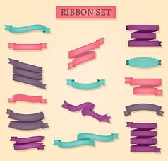 15款彩色丝带条幅矢量素材