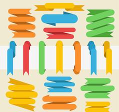 17款彩色丝带条幅矢量素材
