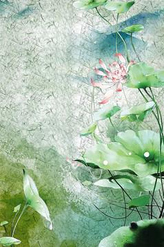 中式荷花背景底纹装饰画素材图