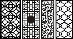 传统大气中国风复古窗花CDR矢量图素材雕花图案 (36)