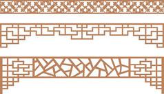 中式建筑花型雕花纹样CDR矢量