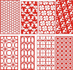 几何传统雕花纹样窗户花型素材图
