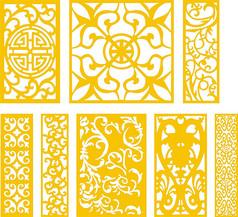 中式雕花窗花纹样设计CDR矢量