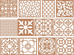 传统大气中国风复古窗花CDR矢量图素材雕花图案 (51)