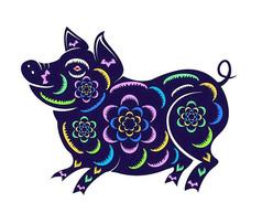 手绘花朵猪元素