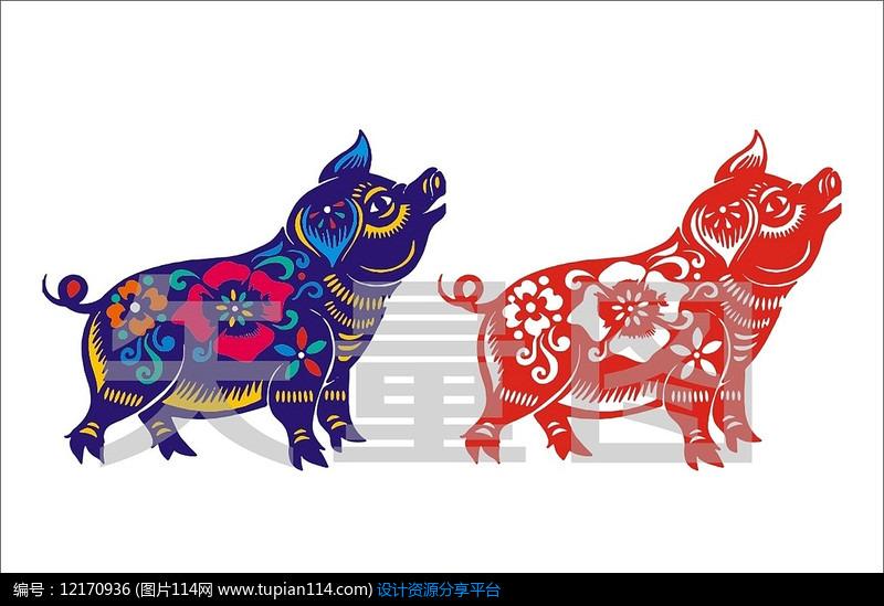 手绘花朵剪纸猪元素
