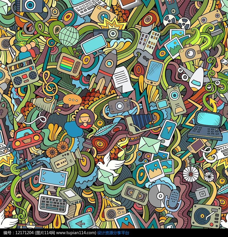 卡通动画手绘满身印花底纹矢量图