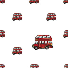 卡通手绘汽车满身印花底纹矢量图