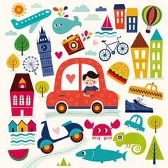 卡通汽车可爱建筑满身印花底纹图