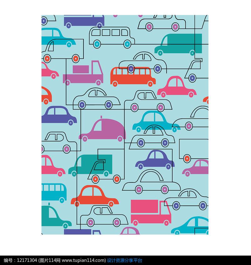 手绘线稿汽车印花单循环图案花型