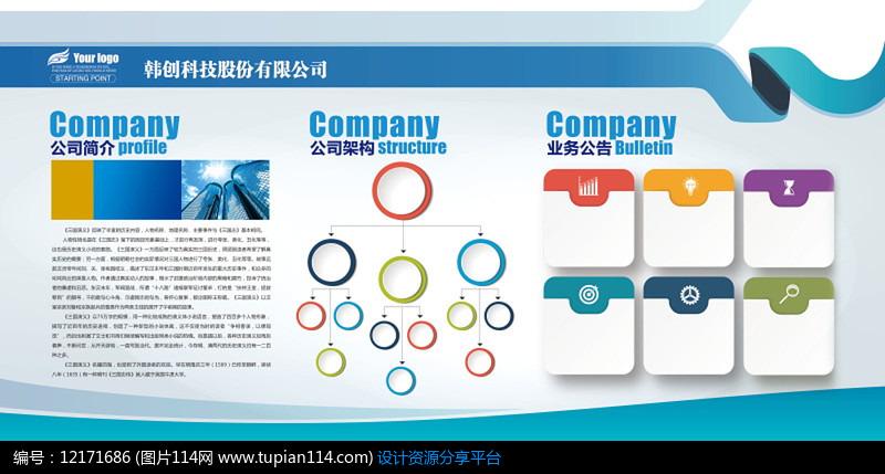 企业文化墙展示展板PSD矢量图