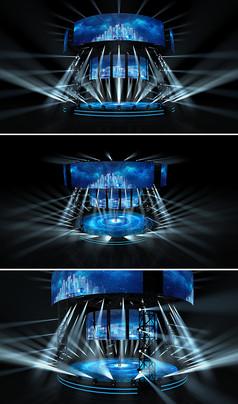 舞美演唱会四面台科技蓝色01