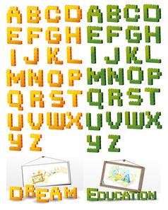 立体积木型字母艺术字
