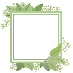 谷雨绿色植物小清新卡通边框
