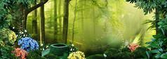 唯美梦幻童话森林风景海报设计