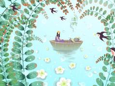 绿色蓝色燕子来了清明节插画