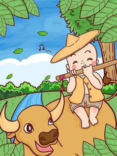 清明节春天放牛郎吹笛子手绘原创插画