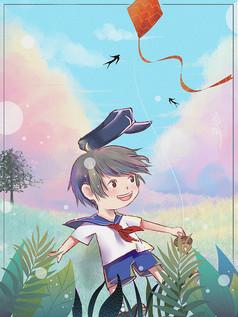 清明节放风筝的小男孩插画