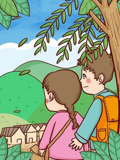 清明节两口人一起去乡下扫墓祭祖手绘插画