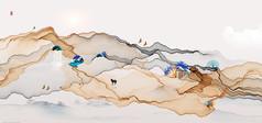 唯美手绘山水插画