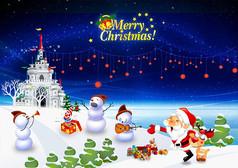 卡通圣诞节狂欢海报