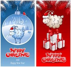 卡通羊圣诞易拉宝