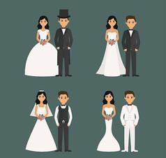 4对卡通婚礼新人矢量素材