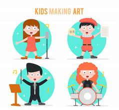 4款卡通大眼睛艺术儿童矢量图